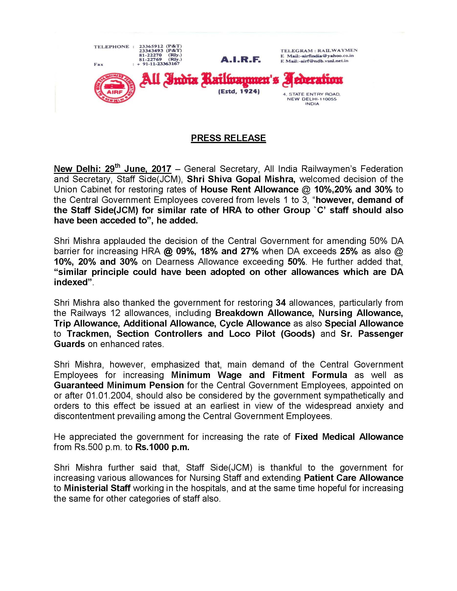 AIRF Press Release