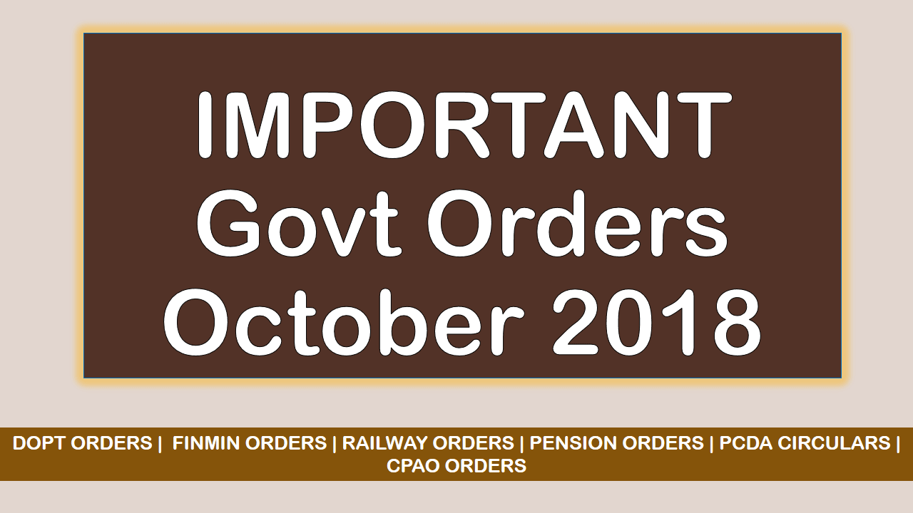 imp govt orders october 2018