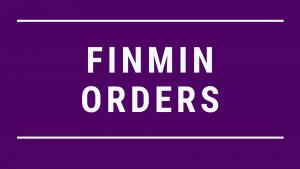 FINMIN ORDERS