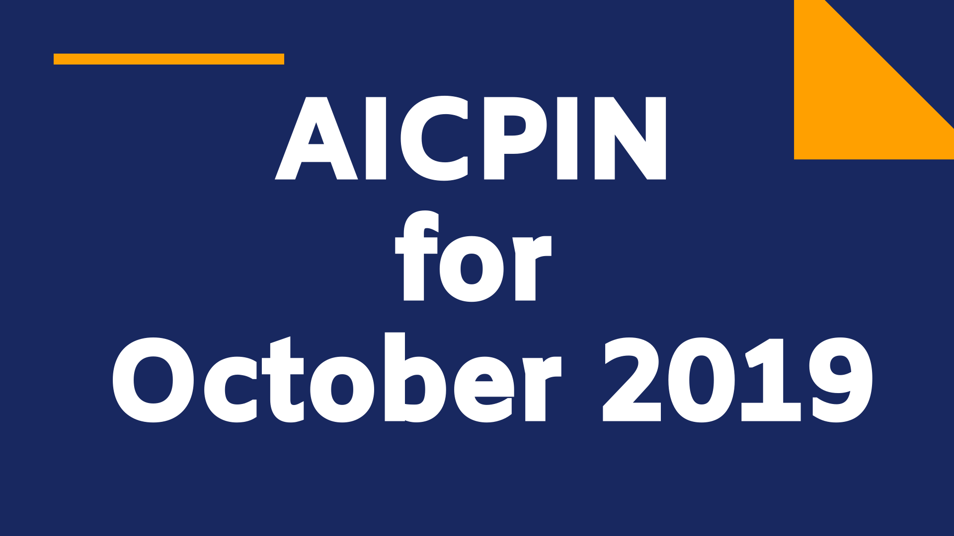 Aicpin for Oct 2019