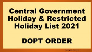 Central Government Offices Holiday List 2021