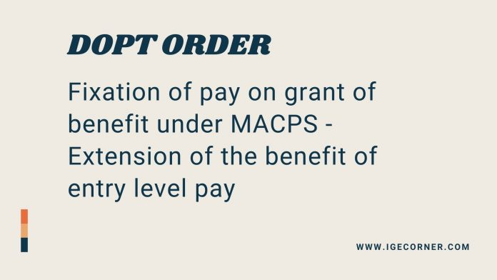 dopt orders on fixation of pay