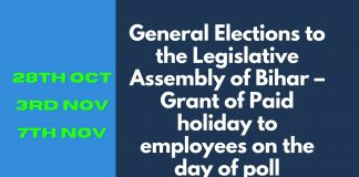 DOPT ORDER - PAID Holiday - Bihar Election