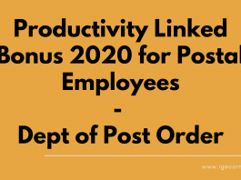 Productivity Linked Bonus 2020 for Postal Employees