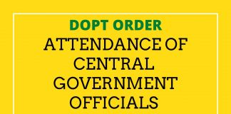 Attendance of Central Government officials