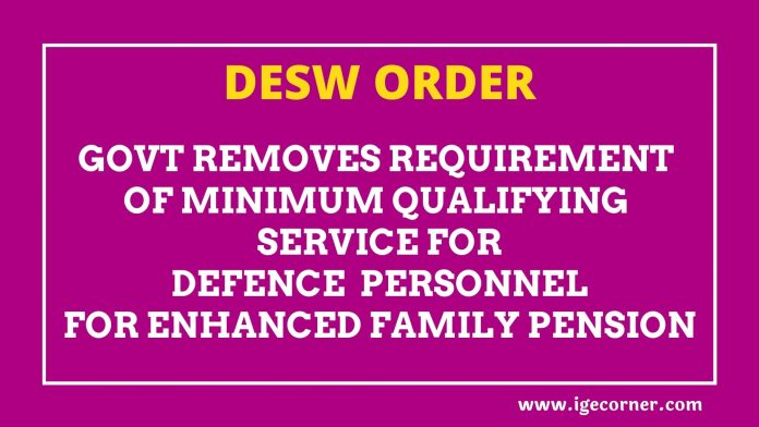 Minimum Qualifying Service for Defence personnel