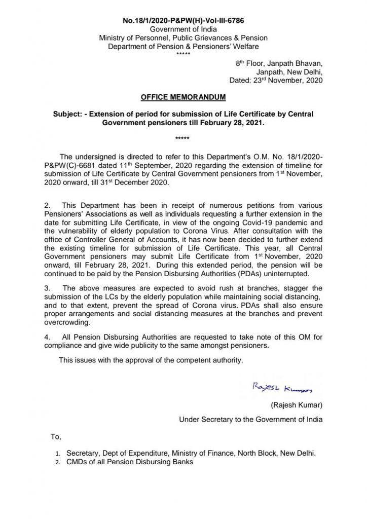 Life Certificate by Central Government pensioners extended till February 2021