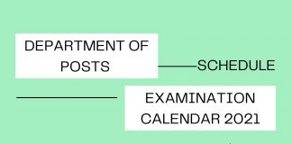 Department of Post Exam Calendar 2021