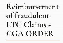 Reimbursement of fraudulent LTC Claims - CGA ORDER