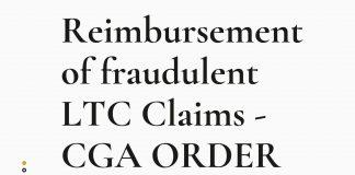 Reimbursement of fraudulent LTC Claims - CGA ORDER