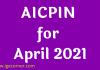 AICPIN for April 2021
