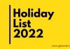 Holiday List 2022