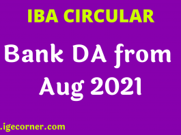 Bank DA from Aug to Oct 2021