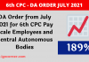 DA Order from July 2021 for 6th CPC Pay Scale