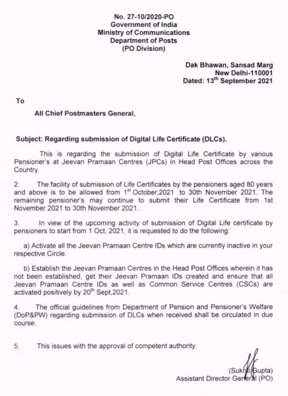 Submission of Digital Life Certificate, activate all the Jeevan Pramaan Centre IDs - Dept of Posts